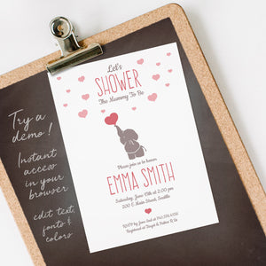elephant & hearts baby shower invitation template editable instant download girls