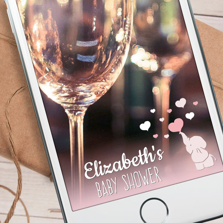 Editable Elephant & Hearts Snapchat Filter Template INSTANT DOWNLOAD