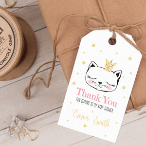cat princess party favor tag template editable instant download
