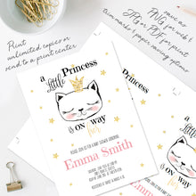 kitty cat princess baby shower invitation template editable instant download girls