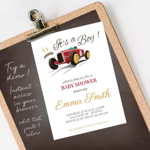 vintage race car baby shower invitation template editable instant download boys