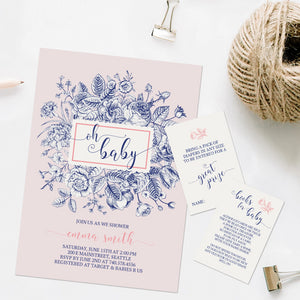 Roses Floral oh baby shower invitation template editable instant download girls
