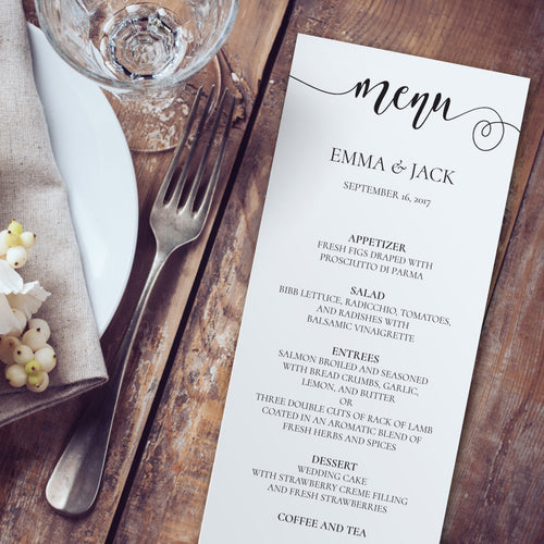 rustic wedding menu template editable instant download