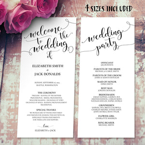rustic wedding program template editable instant download
