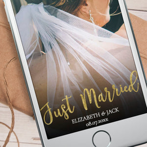 Editable Just Married Gold Snapchat Filter Template INSTANT DOWNLOAD girl
