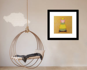 Framed quirky illustrative art print in fun playfull room with hammock chair decor for kids room, nursery, family rooms