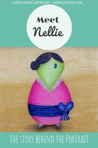 Whimsical Character art Nellie by Caren Kinne