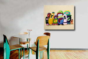 wall art for family room, playroom, abstract group portrait with quirky illustrative character art