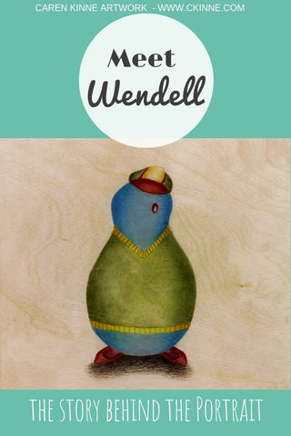Meet Wendell - loveable art character by Caren Kinne artowrk