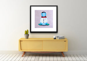 Framed illustrative fine art print and mid centrury modern table perfect for family room. nursery or playroom