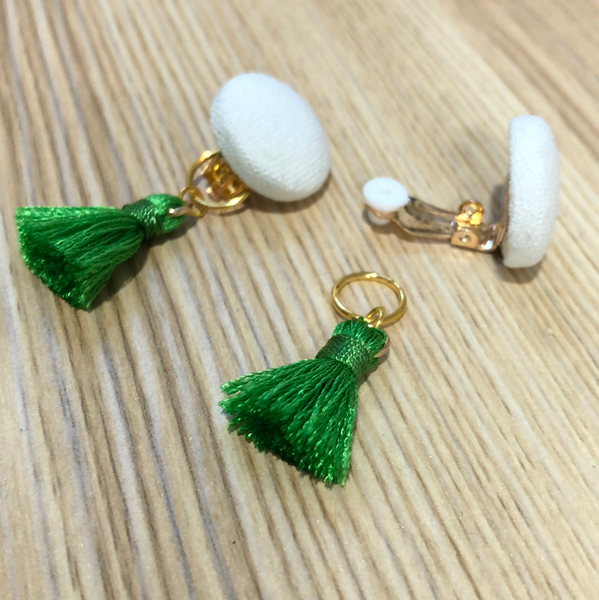 Clip-On Cloth Button + Removable Tassel Dangle Earrings