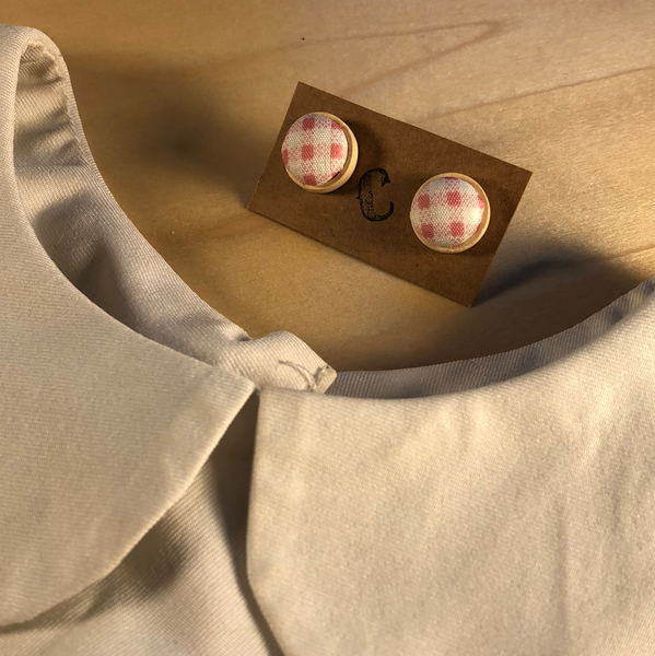 Wood + Cloth Button Stud Earrings
