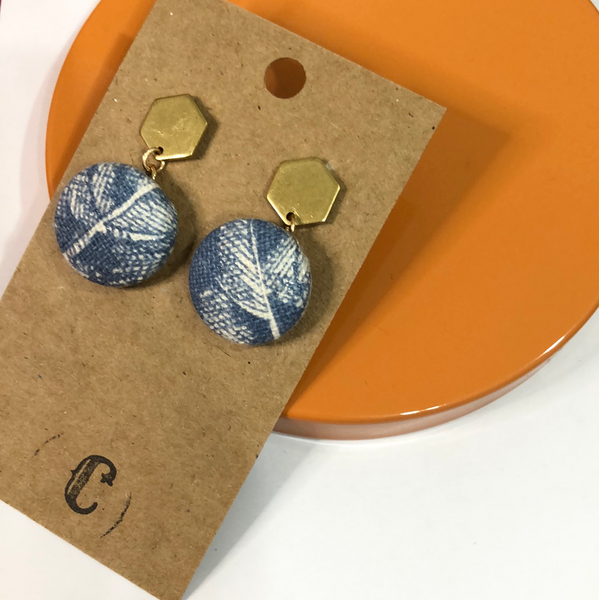 Raw Brass + Cloth Button Dangle Earrings