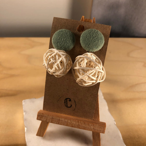 Statement Cloth Button + Wicker Dangle Earrings