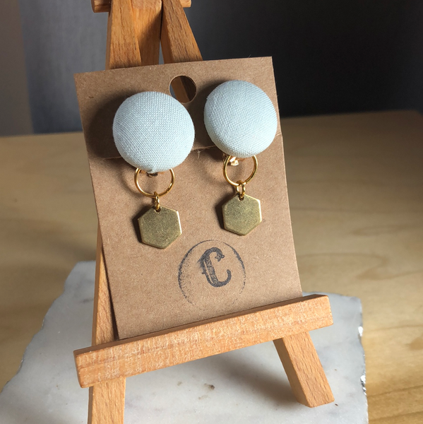 Clip-On Cloth Button + Removable Raw Brass Dangle Earrings