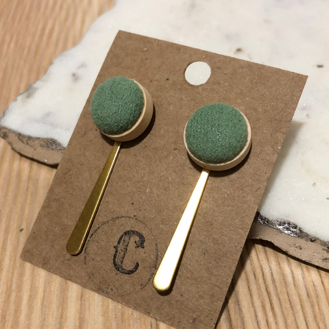 Wood + Cloth Button + Raw Brass Dangle Earrings