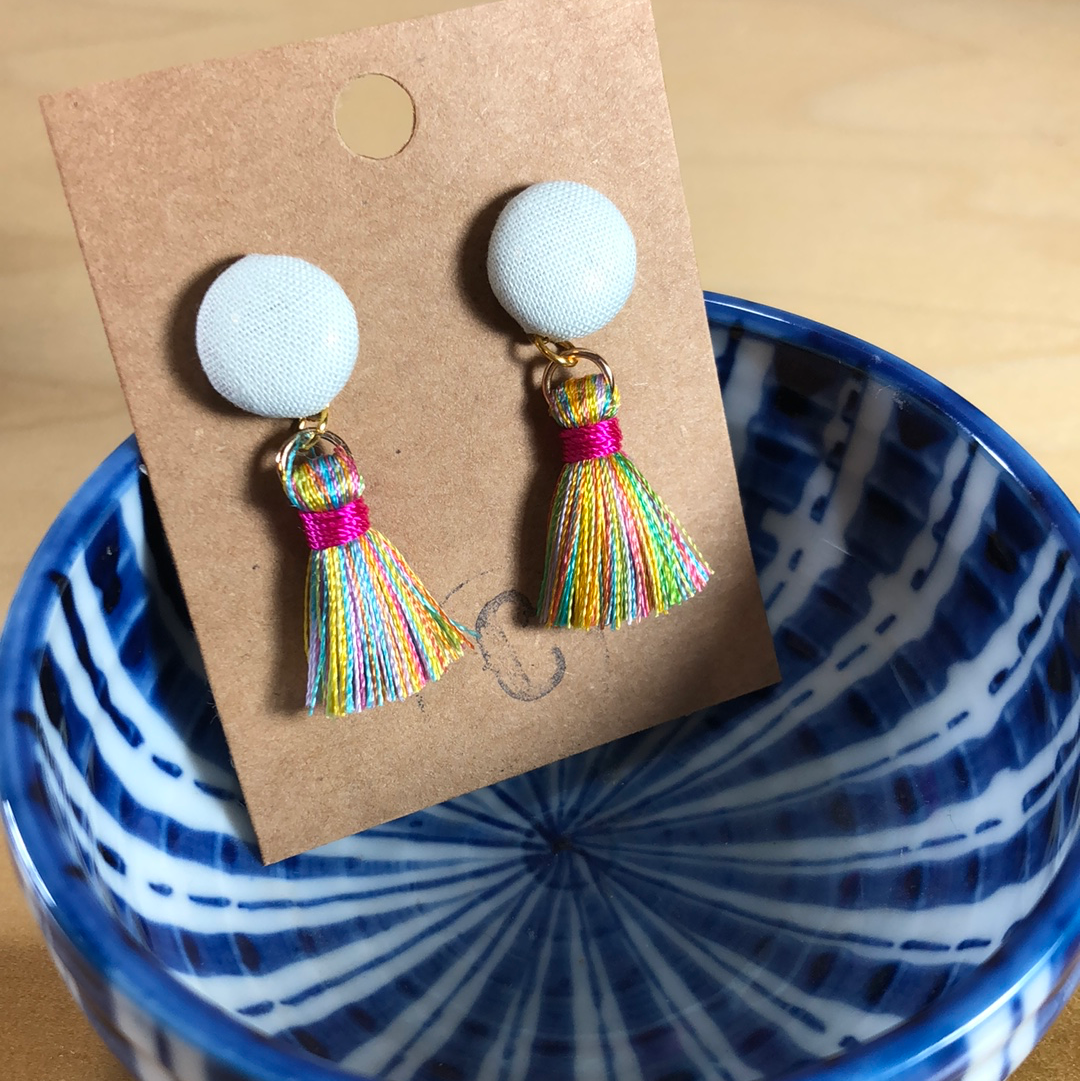 Cloth Button + Mini Tassel Earrings