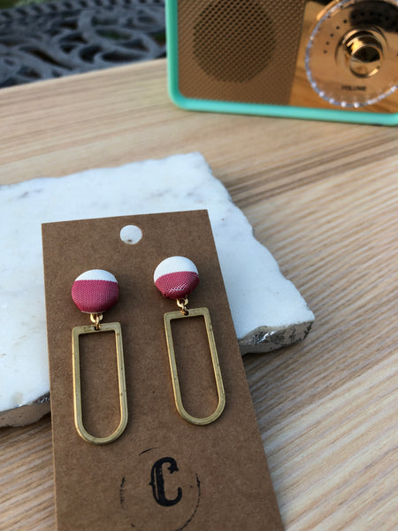 Cloth Button + Raw Brass Dangle Earrings