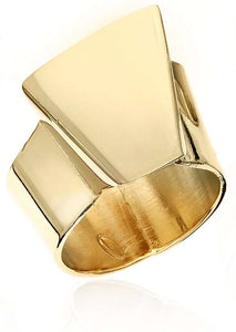 "Building Block ring is mimicking a large cut stone, but all in metal. It's an architectural ring, but light and easy to wear. Made in brass with 14k gold finish. about 1/2"" wide on your finger."