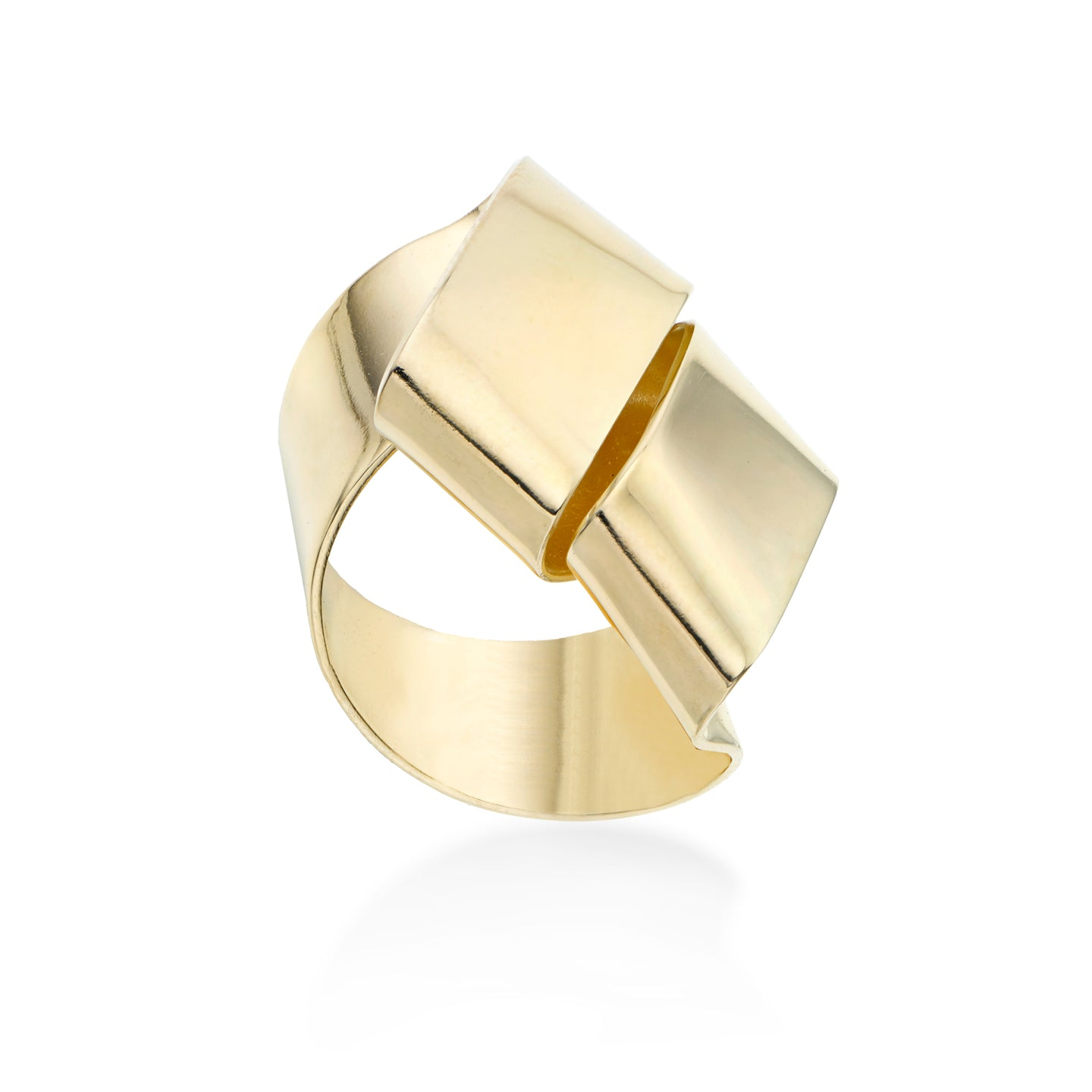 Double wrapped ribbon-like ring called Change Agent. It is hand formed in brass and finished with 14k gold plating.