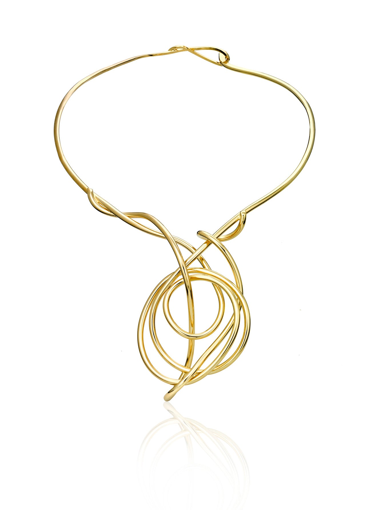 Hand formed wire sculpture necklace, Chaotic Girls No2. This is hand bent in brass and finished with 14k gold plate.