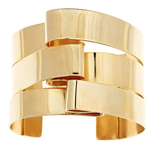 "Buckle Up! This cuff bracelet is from the Brass Band Collection: The Golden Years. It has been our best seller bracelet since we introduced it in 2013.  ~made in brass with 14k gold finish   ~ it is 1.5"" wide and 2"" high  ~each piece is hand fabricated, which means it is light to wear but can also be adjusted to fit the wrist perfectly.    ~ we can create this piece in sterling silver, please contact us info@oblik-atelier.com"