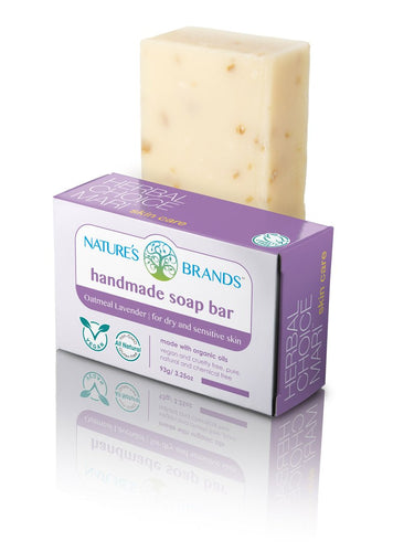 Natural Handmade Soap Bar, Oatmeal Lavender; 3.2oz