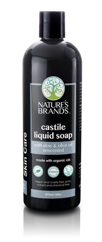 Natural Aloe Castile Liquid Soap, Unscented; Made with Organic