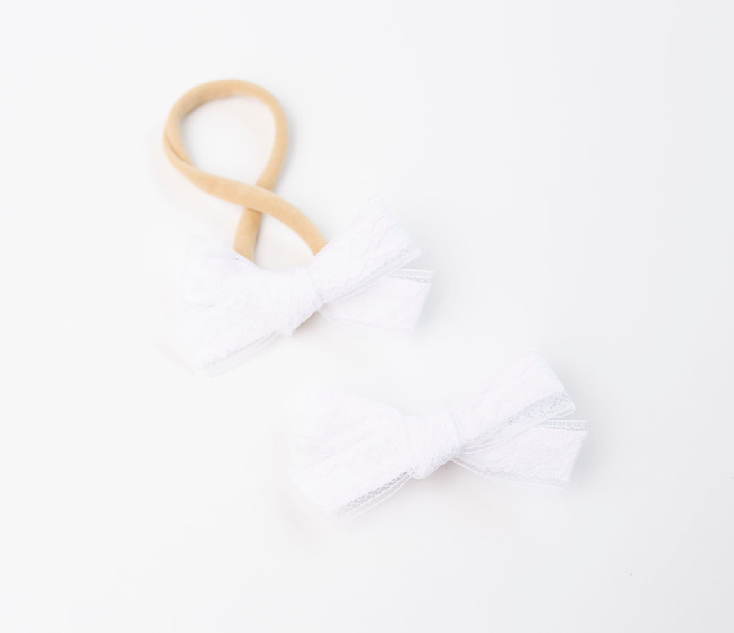 Evie Lace Bows - Cloud