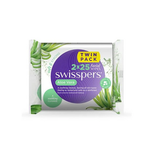 Swisspers Aloe Vera Facial Wipes (2 X 25 PK)