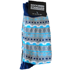 Sock Standard - Grey/Blue Pattern