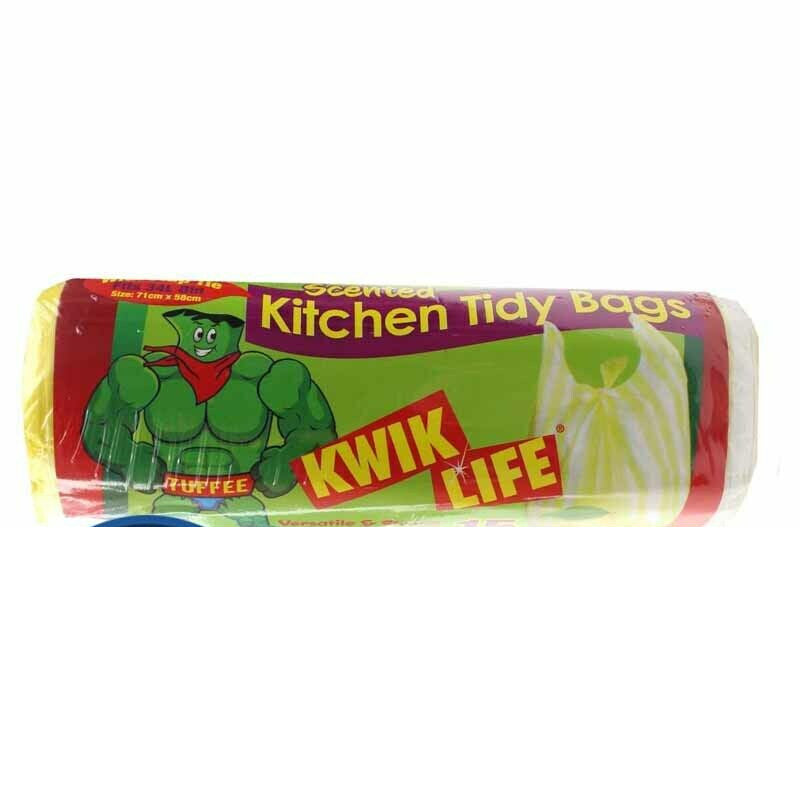 Kwik Life Lemon Scented Kitchen Tidy Bags 34L - 15 Pack