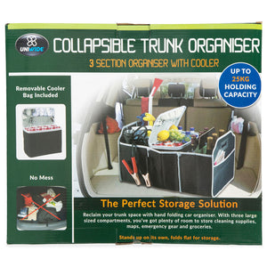 Collapsible Trunk Organiser 3 Section Organiser With Cooler
