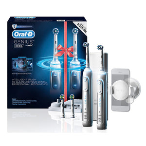 Oral-B Genius 8000 Electric Toothbrush 2-Pack - Silver