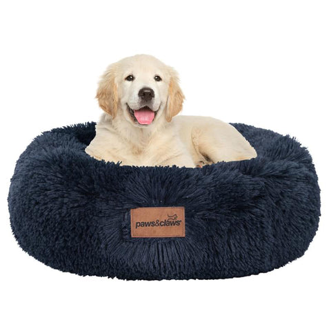 Paws & Claws 50x19cm Small Calming Plush Bed - Navy