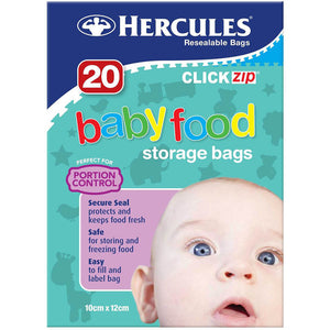 Hercules Click-Zip Baby Food Storage Bags - 20 Pack