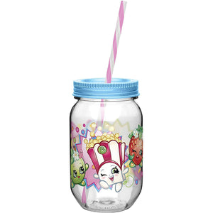 Shopkins Maison Jar Tumbler with Straw ZAK! 562mls