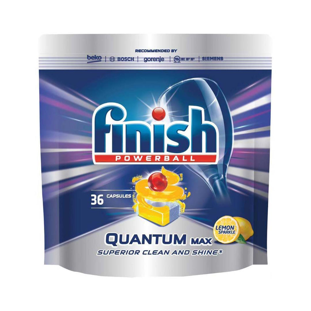 Finish Powerball Quantum Max Dishwashing Tablets - Lemon Sparkle - 36 Pack