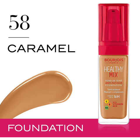 Bourjois Healthy Mix Anti Fatigue Foundation - 58 Caramel - 30ml