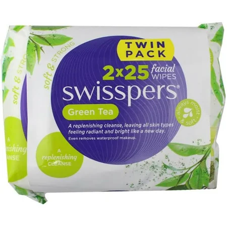 Swisspers Green Tea Facial Wipes (2 X 25 PK)