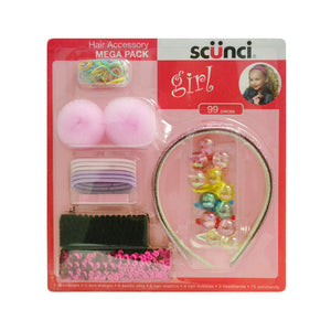 Scunci Girl Hair Accessory Mega Pack Pink Fever 99pk