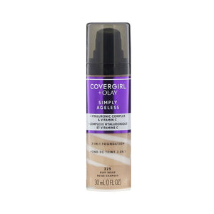 Liquid Foundation - Covergirl + Olay Simply Ageless 3-In-1 With Hyaluronic Acid + Vitamin C - 30ml