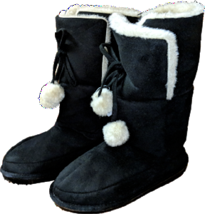 Women's Boots - Black with Pom Pom