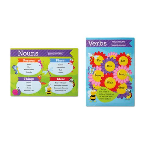 2 Jumbo Wall Posters 1st-2nd Grade Nouns & Verbs The Clever Factory
