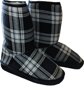 Women's Ugg Style Boots - Black and White Checkered
