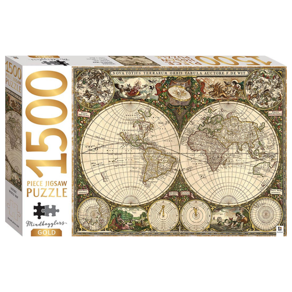 1500 Piece Jigsaw Puzzle - Gold: Vintage World Map