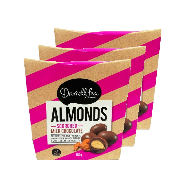 3 X Darrell Lea Scorched Milk Chocolate Covered Almonds (180g)