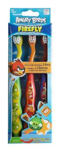 Firefly Angry Birds 3 Pack Soft Suction Cup Stand Toothbrushes