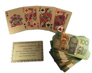 Gold Foil Playing Cards- With Australian or USA dollars printed