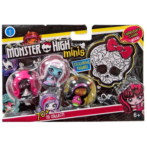 Monster High Minis Series 1 - Clawdeen Wolf, Abbey Bominable and Catty Noir Mini Figure 3-Pack